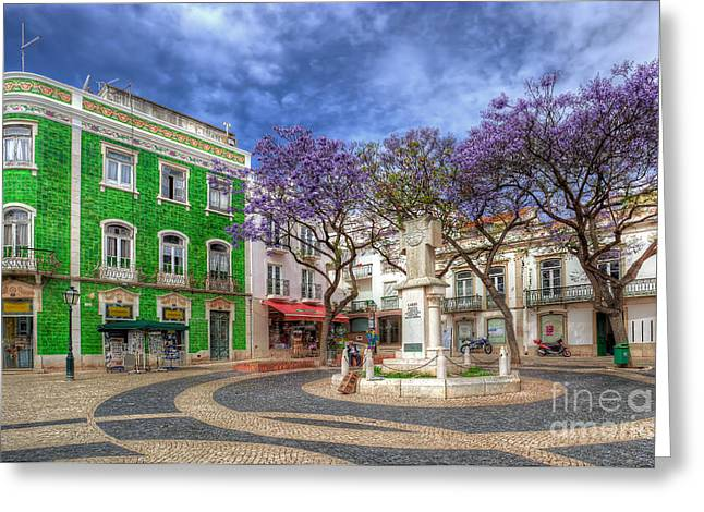 Praia De Faro Greeting Cards - Jacaranda Square Lagos Greeting Card by English Landscapes