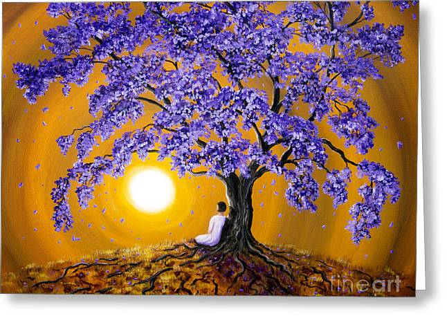 Jacaranda Sunset Meditation Greeting Card by Laura Iverson