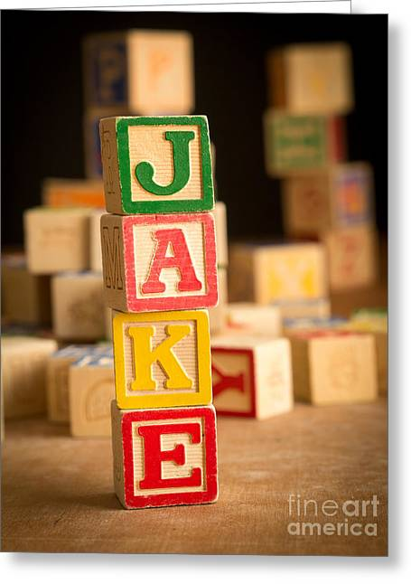 Announcement Greeting Cards - JAKE - Alphabet Blocks Greeting Card by Edward Fielding