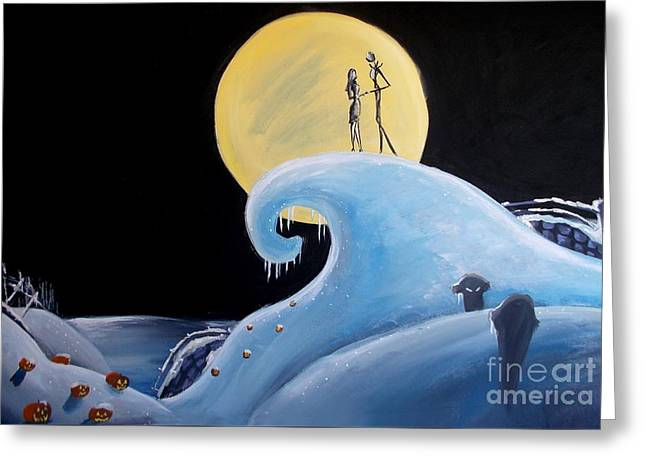 Jack And Sally Snowy Hill Greeting Card by Marisela Mungia