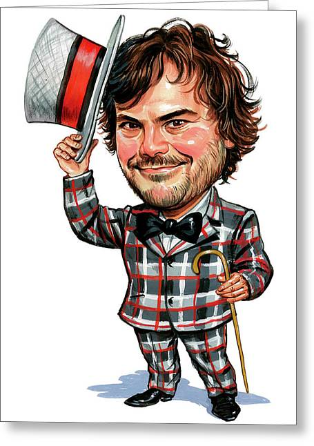 Comedian Paintings Greeting Cards - Jack Black Greeting Card by Art