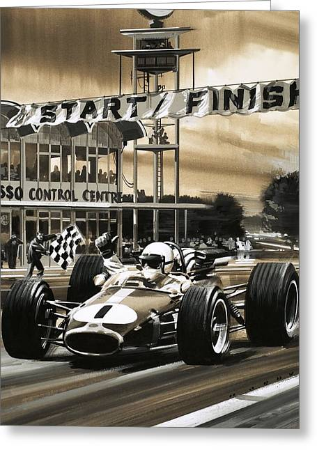 Racing Number Greeting Cards - Jack Brabham wins the first ever Canadian Grand Prix Greeting Card by Wilf Hardy