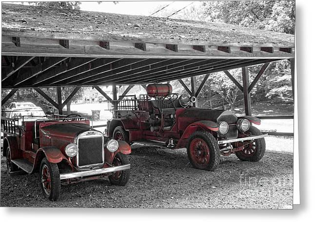 Fire Pyrography Greeting Cards - Jack Daniels Fire Trucks Greeting Card by Nate Garner