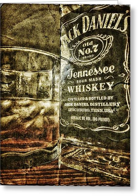 Illustrative Mixed Media Greeting Cards - Jack Daniels Greeting Card by Todd and candice Dailey