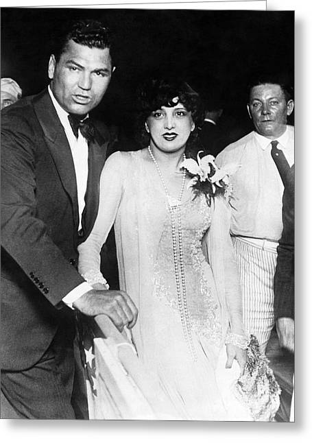 Dempsey Greeting Cards - Jack Dempsey & Estelle Taylor Greeting Card by Underwood Archives