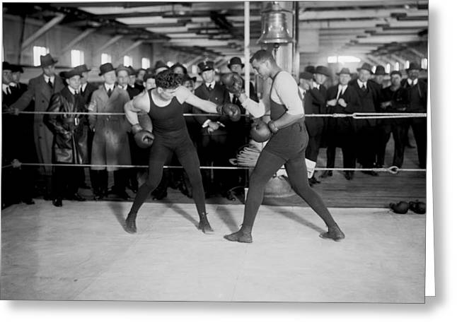 Dempsey Greeting Cards - Jack Dempsey Sparring Greeting Card by Underwood Archives