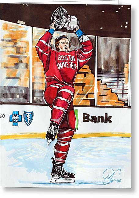 Td Garden Drawings Greeting Cards - Jack Eichel of Boston University 2015 Beanpot Champions Greeting Card by Dave Olsen