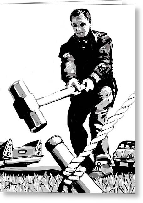 Sledge Drawings Greeting Cards - Jack Hammer Greeting Card by Jean Pacheco Ravinski