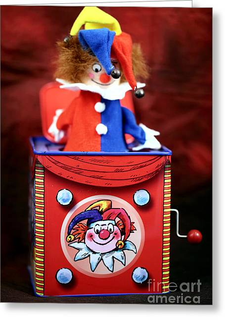 Jester Greeting Cards - Jack in the Box Greeting Card by John Rizzuto