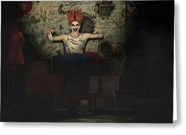 Killer Clown Greeting Cards - Jack in The Box Greeting Card by Liam Liberty