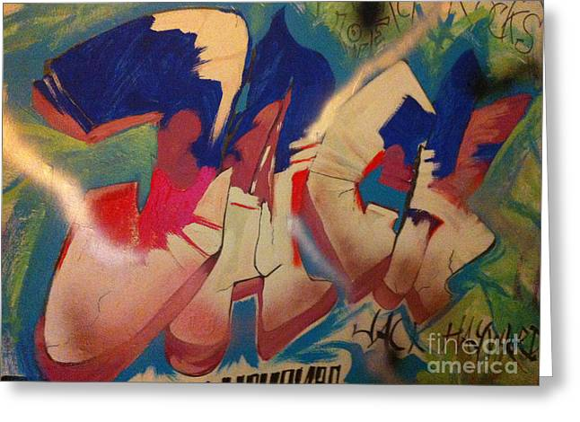 Streets Tapestries - Textiles Greeting Cards - JACK  Indoor Graffiti Greeting Card by Michelle Deyna-Hayward