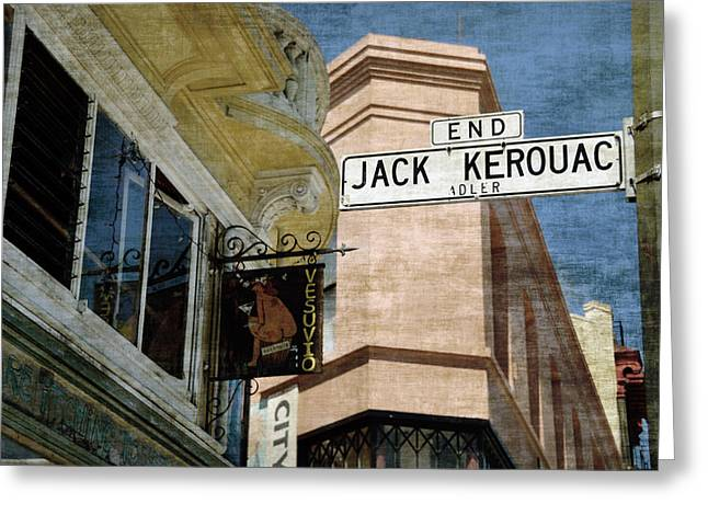 Maya Angelou Greeting Cards - Jack Kerouac Alley and Vesuvio pub Greeting Card by RicardMN Photography