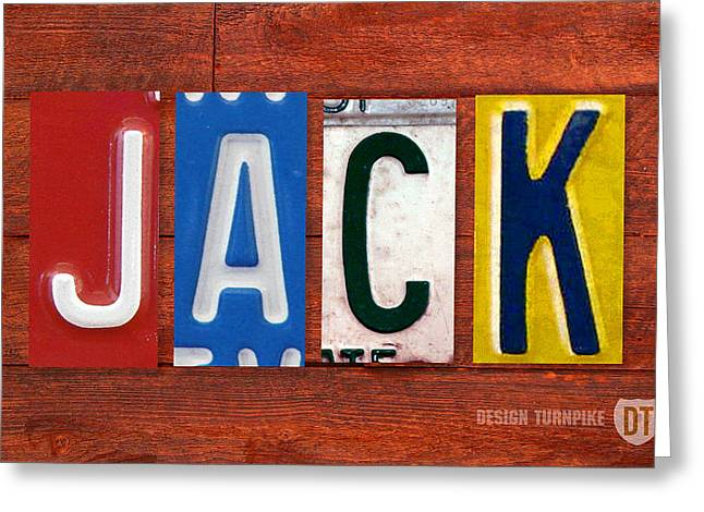 Jack License Plate Name Sign Fun Kid Room Decor Greeting Card by Design Turnpike