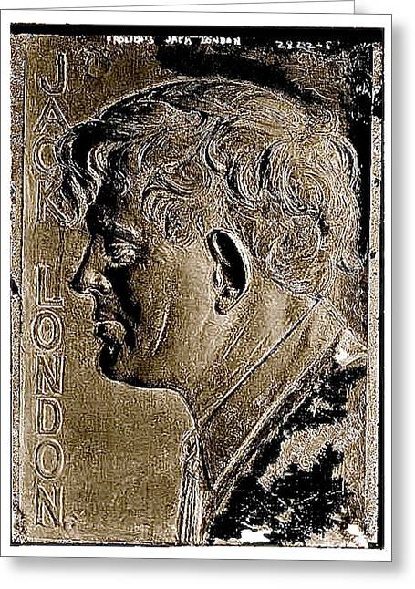 Mexican Fighters Greeting Cards - Jack London bas relief no known date-2013 Greeting Card by David Lee Guss