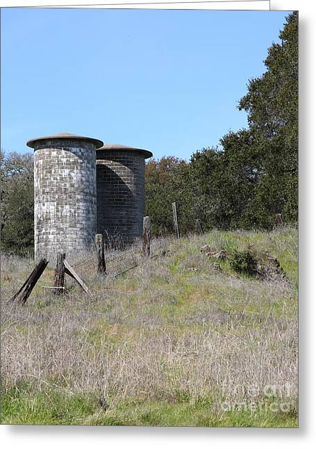 Pastoral Vineyards Greeting Cards - Jack London Ranch Silos 5D22146 Greeting Card by Wingsdomain Art and Photography