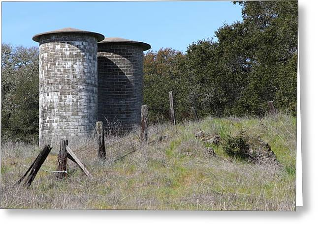 Jack London Ranch Silos 5D22146 Greeting Card by Wingsdomain Art and Photography