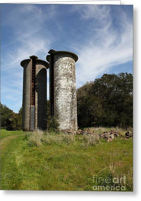 Sonoma Greeting Cards - Jack London Ranch Silos 5D22161 Greeting Card by Wingsdomain Art and Photography
