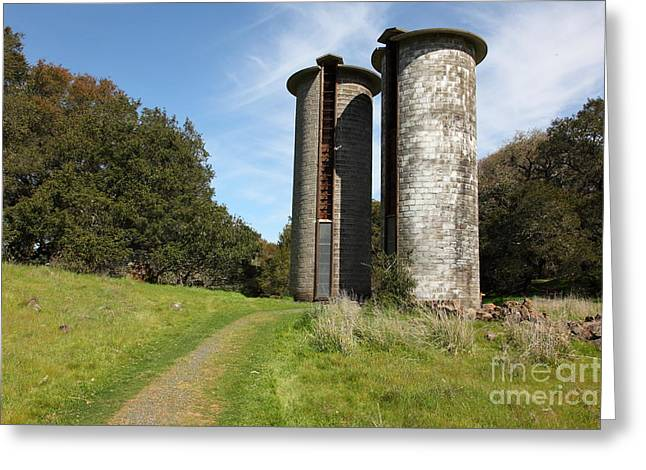 Pastoral Vineyards Greeting Cards - Jack London Ranch Silos 5D22162 Greeting Card by Wingsdomain Art and Photography