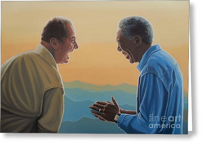 Listed Greeting Cards - Jack Nicholson and Morgan Freeman Greeting Card by Paul Meijering