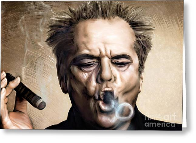 Celebrities Greeting Cards - Jack Nicholson Greeting Card by Andrzej Szczerski