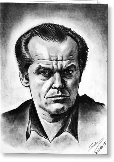 Psycho Drawings Greeting Cards - Jack Nicholson Greeting Card by Salman Ravish