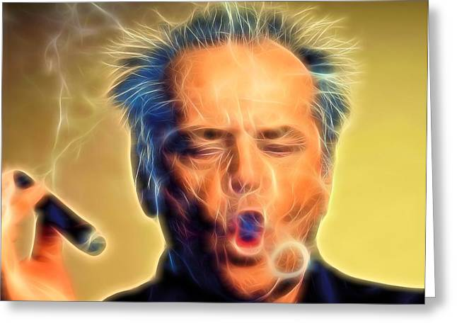 Over Easy Greeting Cards - Jack Nicholson Smoking Greeting Card by Dan Sproul
