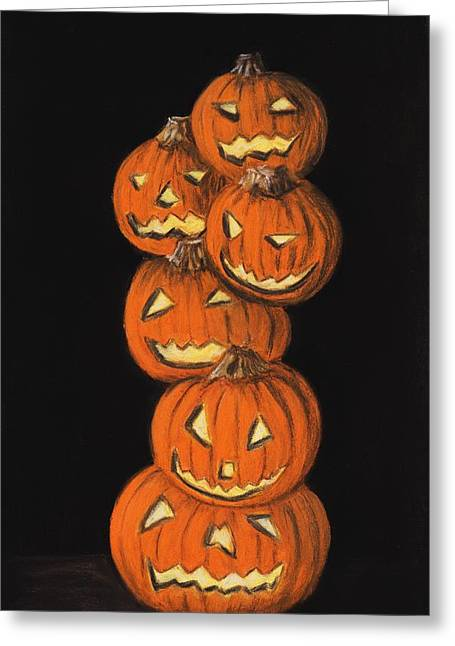 Kid Pastels Greeting Cards - Jack-O-Lantern Greeting Card by Anastasiya Malakhova