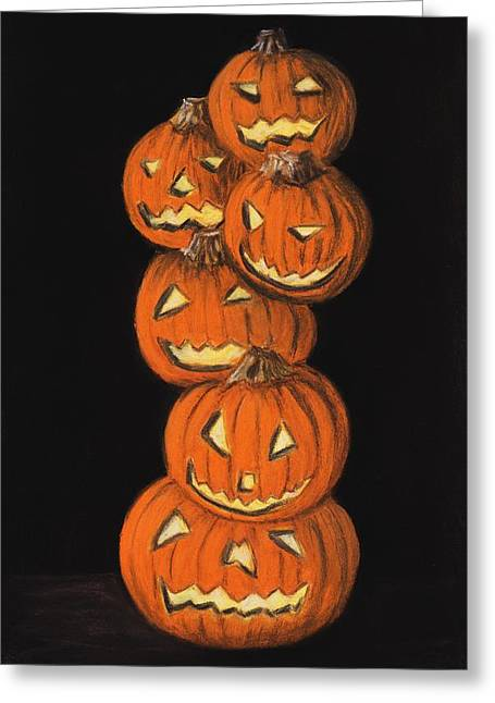Gift Pastels Greeting Cards - Jack-O-Lantern Greeting Card by Anastasiya Malakhova