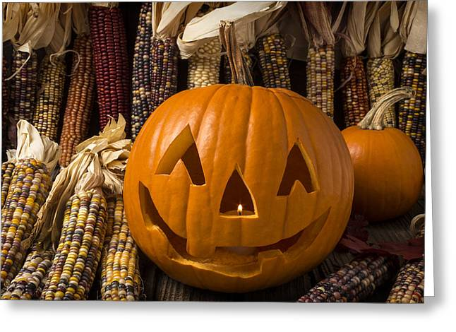 Tricks Greeting Cards - Jack-O-lantern and Indian corn  Greeting Card by Garry Gay