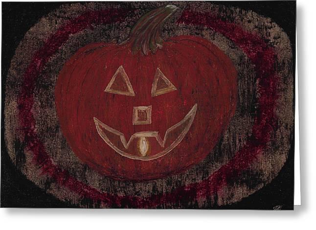 Jack O Lanterns Jackolantern Greeting Cards - Jack O Lantern Set on a Dark Background with Glowing Flame Greeting Card by Jessica Foster