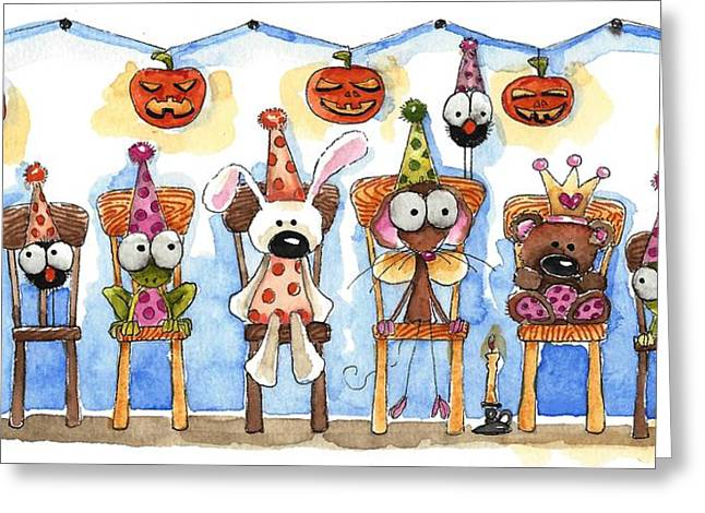 Party Hat Greeting Cards - Jack O Lanterns Greeting Card by Lucia Stewart