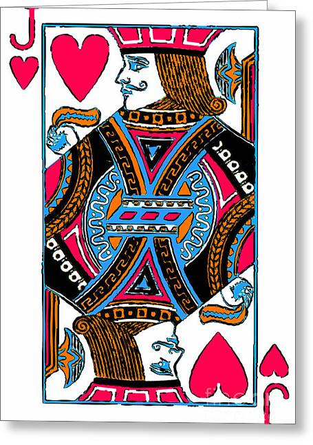 Deck Of Cards Greeting Cards - Jack of Hearts 20140301 Greeting Card by Wingsdomain Art and Photography