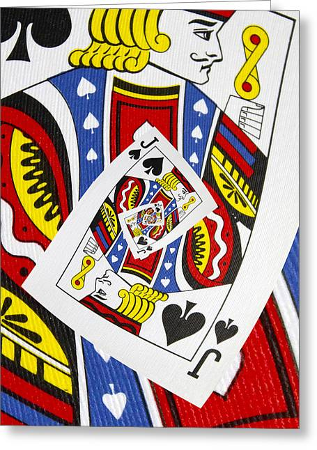Playing Cards Greeting Cards - Jack of Spades Collage Greeting Card by Kurt Van Wagner