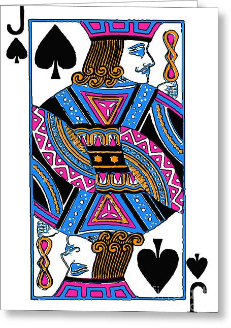 Deck Of Cards Greeting Cards - Jack of Spades - v3 Greeting Card by Wingsdomain Art and Photography