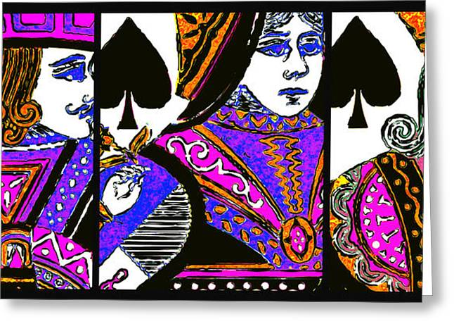 Deck Of Cards Greeting Cards - Jack Queen King of Spade 20140812 Greeting Card by Wingsdomain Art and Photography