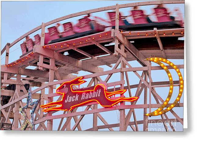 Neon Greeting Cards - Jack Rabbit Coaster Kennywood Park Greeting Card by Jim Zahniser
