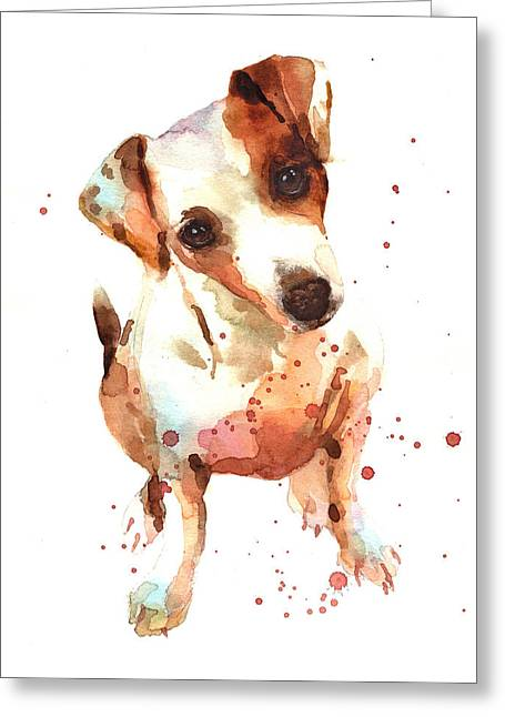 Dog Breeds Greeting Cards - Jack Russell Painting Greeting Card by Alison Fennell