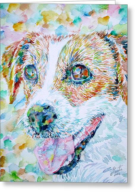 Jack Russell Terrier Greeting Cards - JACK RUSSELL TERRIER - watercolor portrait.1 Greeting Card by Fabrizio Cassetta