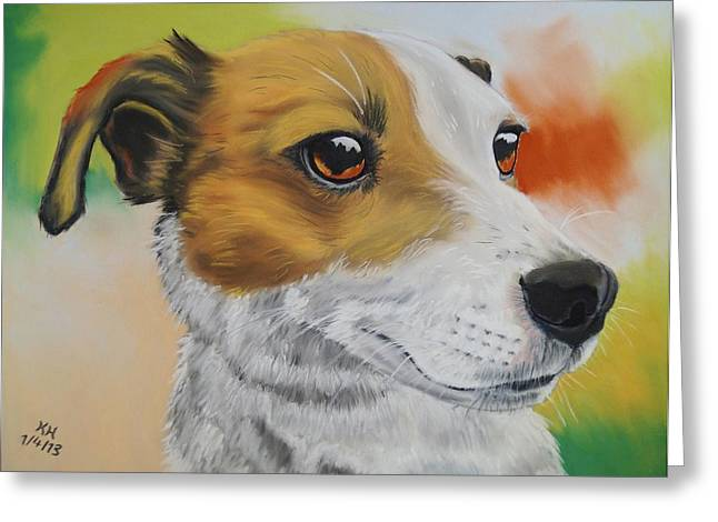 Terrier Pastels Greeting Cards - Jack Russell Terrier Greeting Card by Kevin Hubbard