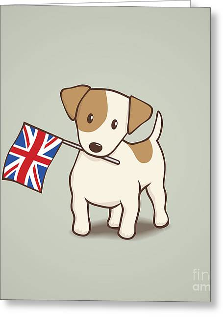 Union Square Drawings Greeting Cards - Jack Russell Terrier with Union Jack Flag Greeting Card by Li Kim Goh