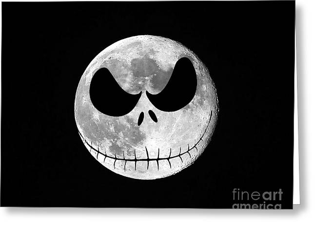 Hallows Greeting Cards - Jack Skellington Moon Greeting Card by Al Powell Photography USA