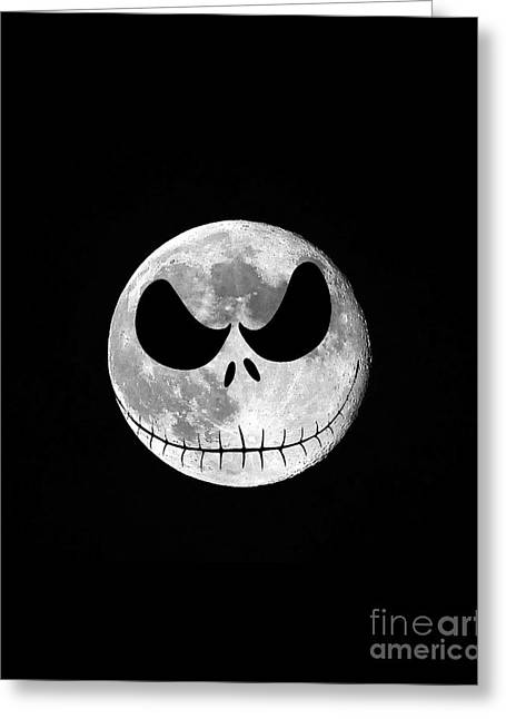 Hallows Greeting Cards - Jack Skellington Moon Vertical Greeting Card by Al Powell Photography USA