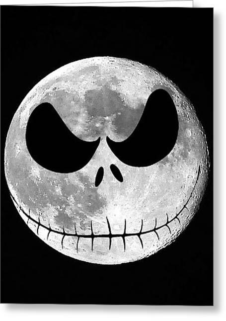 Al Powell Photog Greeting Cards - Jack Skellington Moon Vertical Greeting Card by Al Powell Photography USA