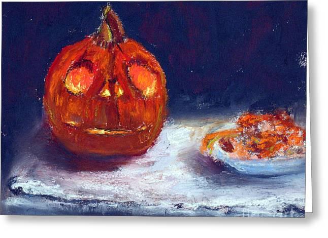 Pumpkins Pastels Greeting Cards - Jack Skillington Pumpkin Greeting Card by Shelley Koopmann