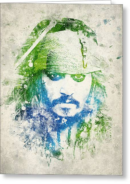 Depp Greeting Cards - Jack Sparrow Greeting Card by Aged Pixel