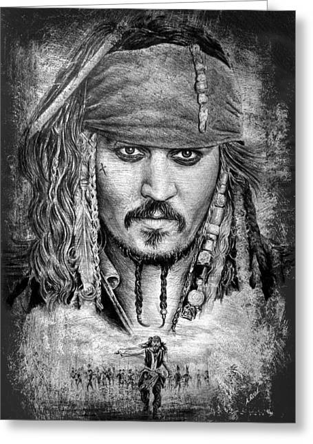 Pirates Drawings Greeting Cards - Jack Sparrow Greeting Card by Andrew Read