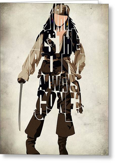 Johnny Depp Poster Greeting Cards - Jack Sparrow Inspired Pirates of the Caribbean Typographic Poster Greeting Card by Ayse Deniz