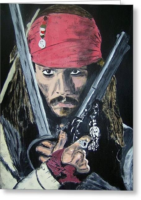 Rum Mixed Media Greeting Cards - Jack Sparrow Johnny Depp Greeting Card by Dan Twyman