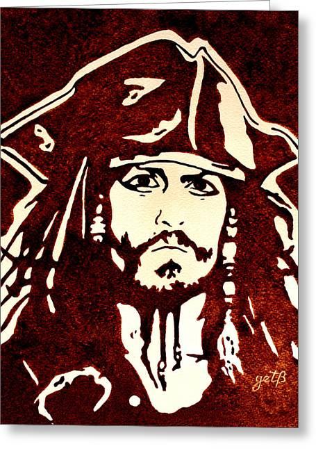 Jack Sparrow Greeting Cards - Jack Sparrow original coffee painting Greeting Card by Georgeta Blanaru