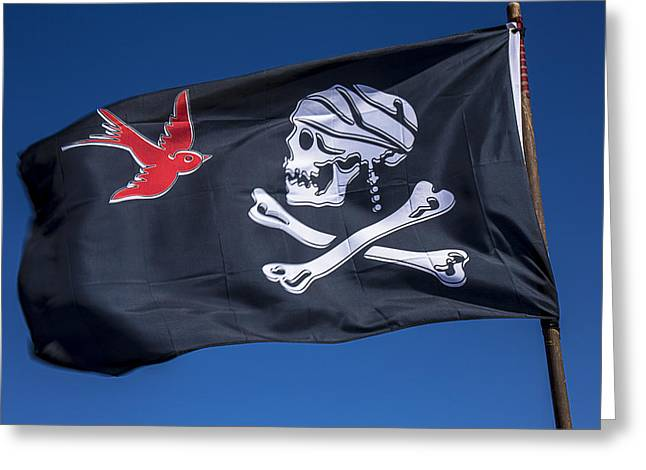 Pirates Photographs Greeting Cards - Jack sparrow pirate skull flag Greeting Card by Garry Gay